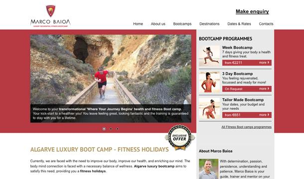 Algarve Luxury Bootcamp website